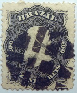 emperor dom pedro performaton 12 brazil 200r duzentos reis black 1866 july 1 old used stamp