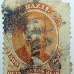 emperor dom pedro performaton 12 brazil 500 quinicentos reis orange 1866 july 1 old stamp