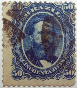 emperor dom pedro performaton 12 brazil 50r cincoenta reis blue 1866 july 1 old used stamp