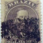 emperor dom pedro performaton 12 brazil 80 oitenta reis slate violet 1866 july 1 old stamp