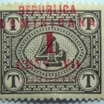 04 postage due stamps overprinted republica dominicana 1 4 centavo correos red overprinted stamp brownish olive color
