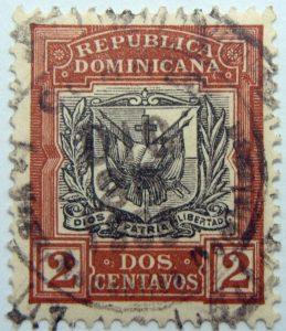 10 coat of arms republica dominicana 2 dos centavos carmine rose black color stamp dios patria libertad