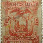 1881 1887 coat of arms ecuador correos 10 diez centavo orange stamp