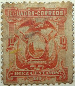 1881 1887 coat of arms ecuador correos 10 diez centavo orange stamp