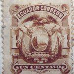 1881 1887 coat of arms ecuador correos un centavo brown stamp