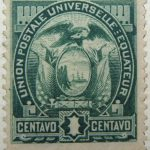 1887 coat of arms inscription union postale universelle equateur 1 centavo green ecuador stamp