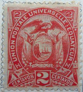 1887 coat of arms inscription union postale universelle equateur 2 centavos red ecuador stamp