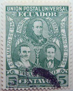 1896 liberal party s electoral victory 9.october union postal universal ecuador honor libertad 6 de marzo de 1845 5 de junio de 1895 franqueo 5 centavos green stamp