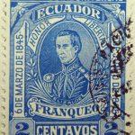 1896 liberal party s electoral victory 9.october union postal universal ecuador honor libertad 6de marzo de1845 elizalde franqueo 2 centavos blue stamp