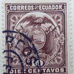 1897 coat of arms correos del ecuador upu 10 diez centavos purple brown stamp