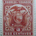 1897 coat of arms correos del ecuador upu 2 dos centavos orange stamp