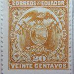 1897 coat of arms correos del ecuador upu 20 veinte centavos yellow stamp