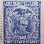 1897 coat of arms correos del ecuador upu 50 cincuenta centavos marine blue stamp
