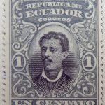 1899 june republica del ecuador 1 un centavo correos luis vargas torres bluish gray black stamp