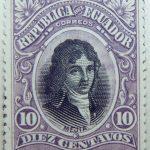 1899 june republica del ecuador 10 diez centavos correos joe mejia de lequerica purple black stamp