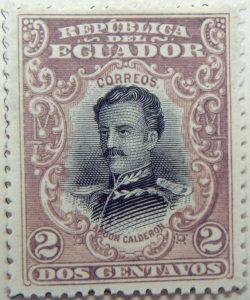 1899 june republica del ecuador 2 dos centavos correos abdon calderon brownish lilac black stamp