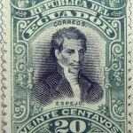 1899 june republica del ecuador 20 veinte centavos correos eugenio espejo green black stamp