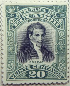 1899 june republica del ecuador 20 veinte centavos correos eugenio espejo green black stamp
