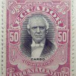 1899 june republica del ecuador 50 cincuenta centavos correos pedro jose carbo brownish lilac black