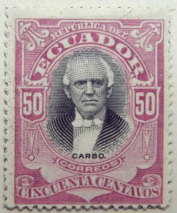 1899 june republica del ecuador 50 cincuenta centavos correos pedro jose carbo brownish lilac black