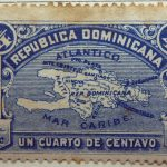 1900 map of hispaniola republica dominicana correos un cuarto de centavo mar caribe blue stamp