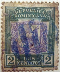1901 coat of arms republica dominicana 2 dos centavos patria libertad green purple color stamp