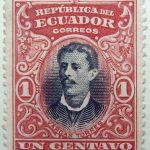 1901 republica del ecuador 1 un centavo correos luis vargas torres red black stamp