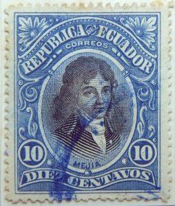 1901 republica del ecuador 10 diez centavos correos joe mejia de lequerica dark blue stamp