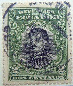 1901 republica del ecuador 2 dos centavos correos abdon calderon green black stamp