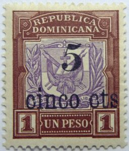 1904 coat of arms stamps of 1901 surcharged republica dominicana overprinted 5 cinco cts 1 un peso brown purple stamp