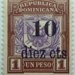 1904 coat of arms stamps of 1901 surcharged republica dominicana overprinted diez cts 1 un peso brown purple stamp