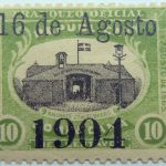 1904 official mail stamps overprinted 16 de agosto 1904 dominicana republica yellowish green black stamp 10 centavos baluarte 27 de febrero