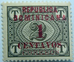 1904 postage due stamps overprinted republica dominicana centavos correos red overprinted stamp brownish olive color