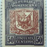 1905 coat of arms republica dominicana 50 cincuenta centavos black brown color stamp diso patria libertad
