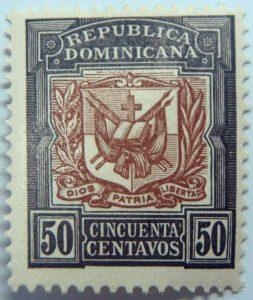 1905 coat of arms republica dominicana 50 cincuenta centavos black brown color stamp diso patria libertad