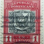 1906 1910 coat of arms republica dominicana 1 un centavo carmine rose black color stamp