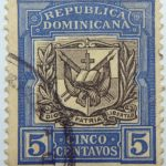 1906 1910 coat of arms republica dominicana 5 cinco centavos ultramarine black color stamp dios patria libertad