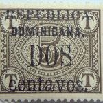 1906 postage due stamps overprinted republica dominicana. dos centavos 2 5 browish olive color