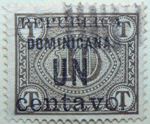 1906 postage due stamps overprinted republica dominicana. un centavo 1 10 browish olive color