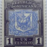 coat of arms republica dominicana 1 un centavo black ultramarine color stamp dios patria libertad