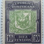 coat of arms republica dominicana 10 diez centavos black green color stamp dios patria libertad