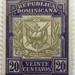 coat of arms republica dominicana 20 veinte centavos black olive color stamp dios patria libertad