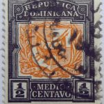 coat of arms republica dominicana half medio centavo black orange color stamp dios patria libertad