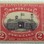 dominican republic official stamp 1909 1912 bastion 2 dos centavos franqueo oficial rose black