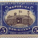 dominican republic official stamp 1909 1912 bastion 5 cinco centavos franqueo oficial blue black