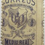 correos republica dominicana dios patria libertad medio real 1879 coat of arms bluish color stamp
