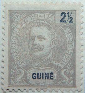 portuguese guinea 1898 1901 king carlos i stamp grey black 2 half guine reis correios portugal