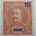 portuguese guinea 1903 1905 king carlos i stamp brown black rose paper 115 guine reis correios portugal
