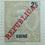 portuguese guinea 1911 king carlos i stamp grey black 2 half guine reis correios portugal republica red overprinted