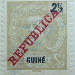 portuguese guinea 1911 king carlos i stamp grey black 2 half guine reis correios portugal republica red overprinted
